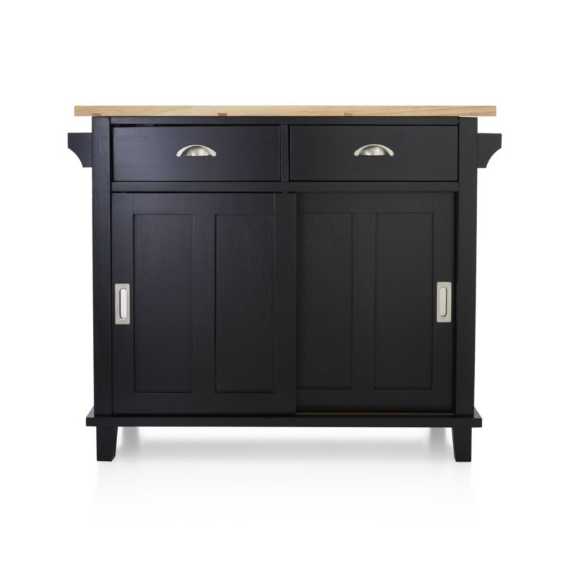 Belmont Black Kitchen Island + Reviews   Crate and Barrel ...