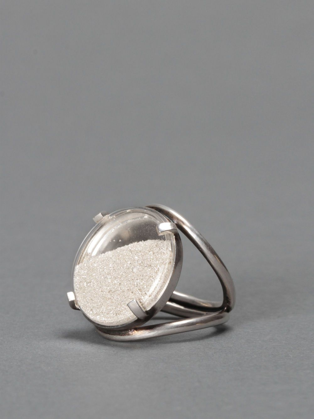 Ann Demeulemeester, sterling silver ring with glass and silver powder