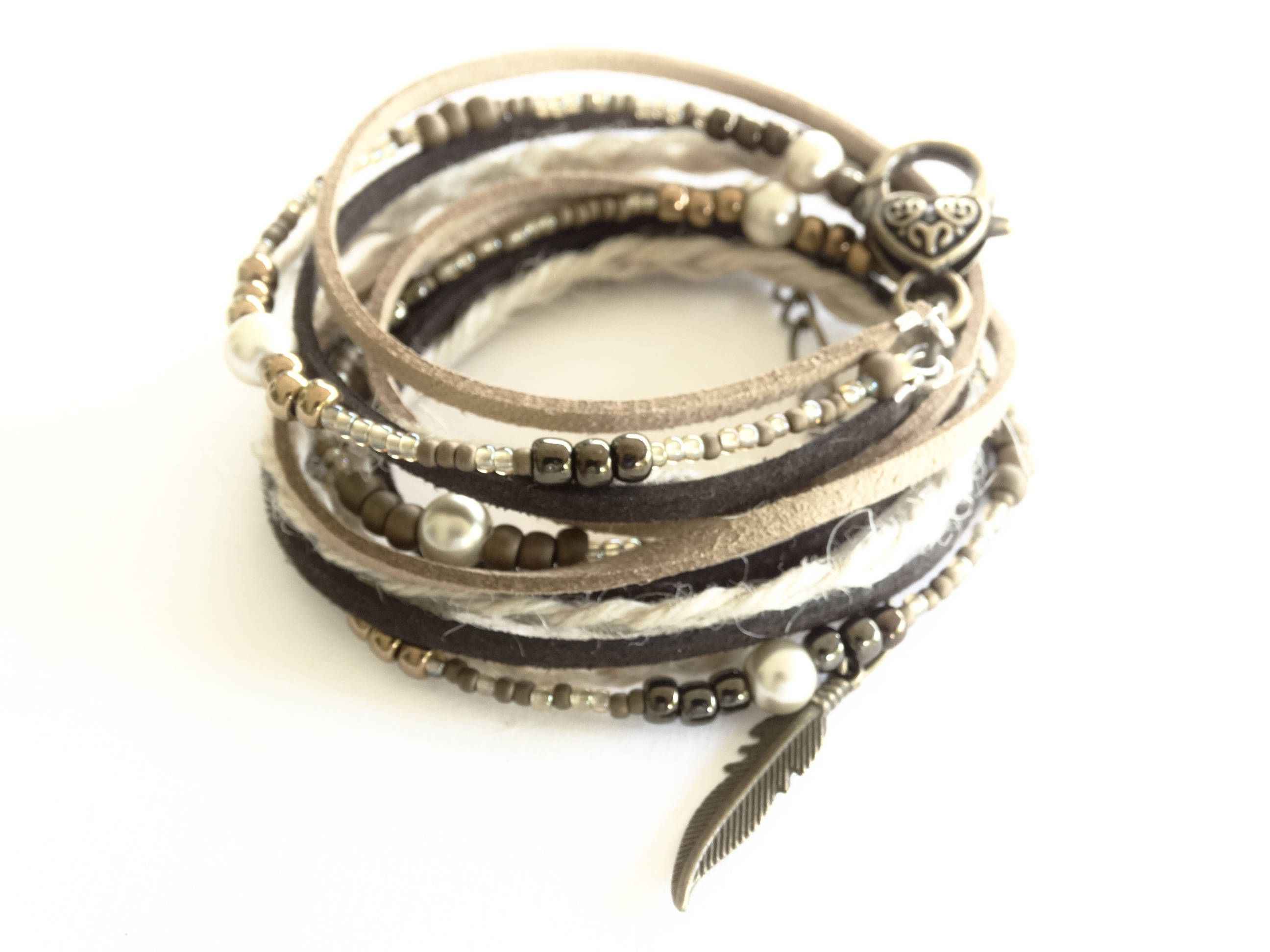Leather bracelet for women multi wrap boho faux leather beaded