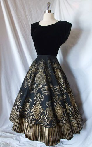 50s Black Gold Painted Party Cocktail Gown