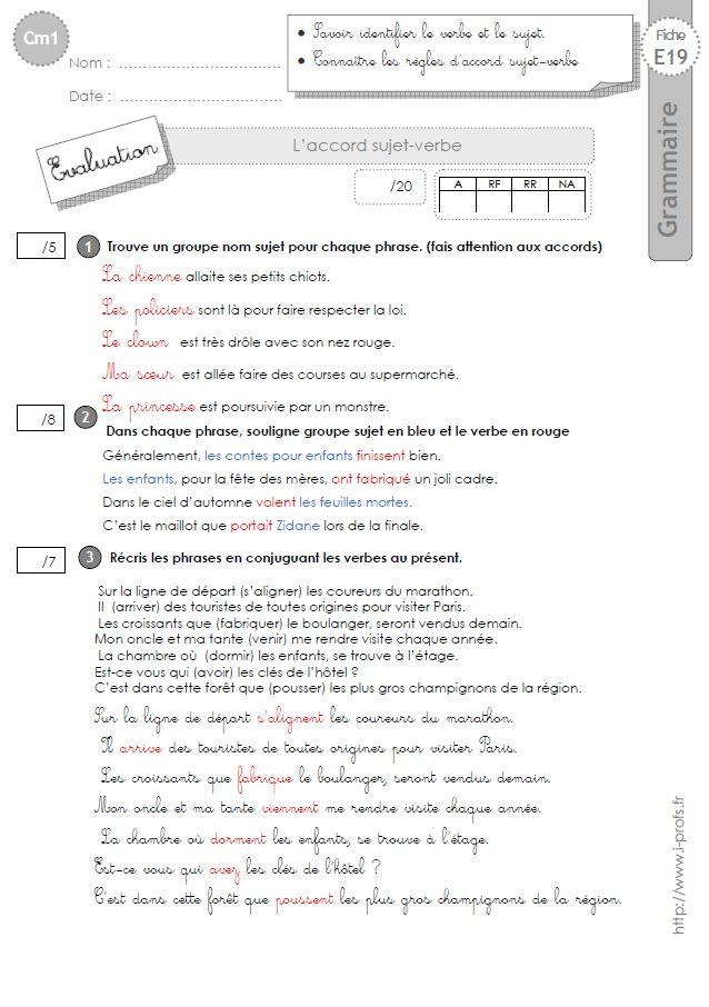 cm1: Evaluation L'accord sujet-verbe | Grammaire cm1, Cm1