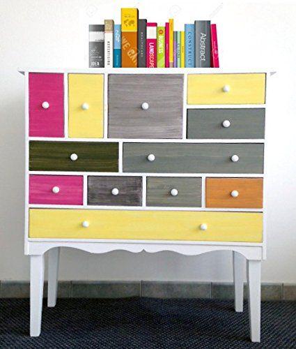 Mobile cassettiera credenza mobiletto con cassetti colorati cucina soggiorno (Cod. 0-1131 ...