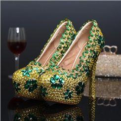 ca2e6b7ef Shoespie Yellow Green Rhinestone Platform Heel Bridal Shoes ...