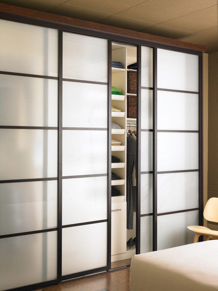 Trendy Floor To Ceiling Blurred Glass Sliding Door With Black Frame
