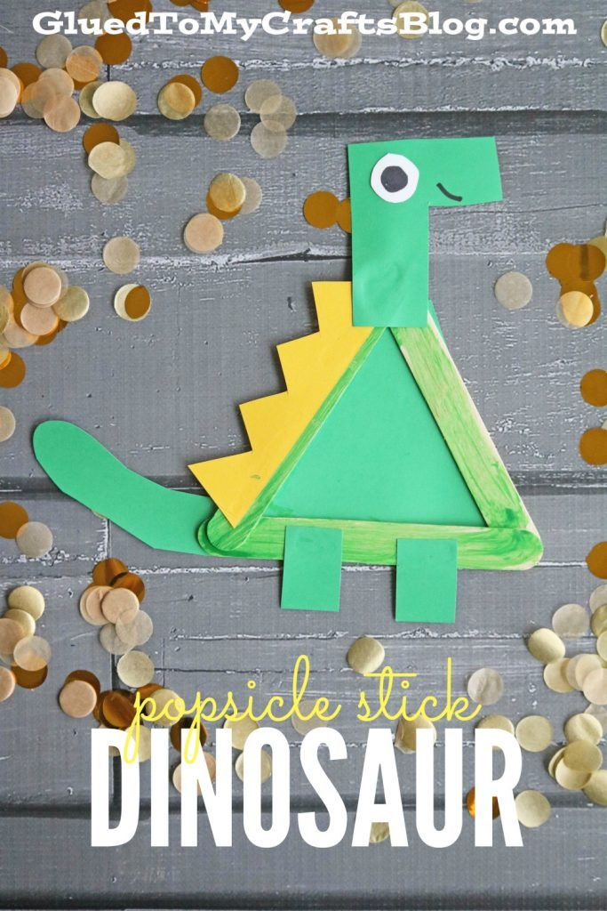 Popsicle Stick Dinosaur Kid Craft Glued To My Crafts