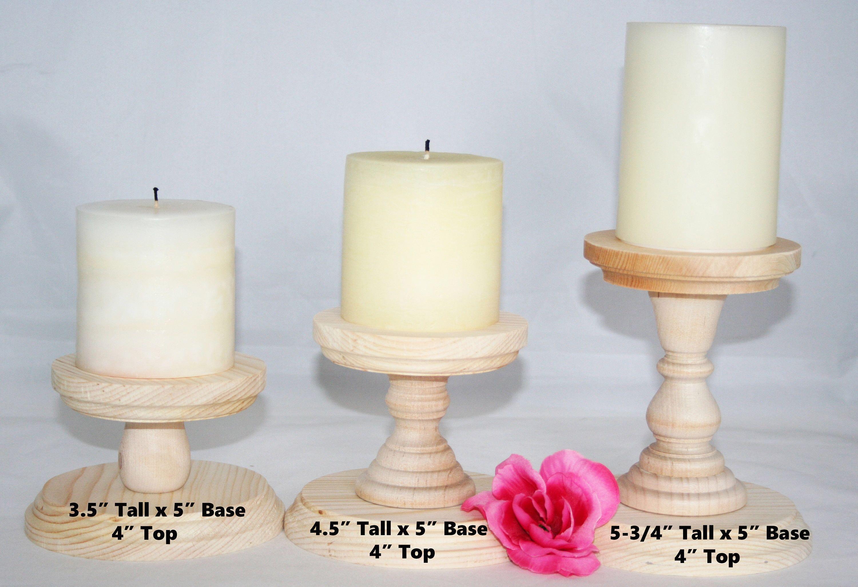 Smaller Unfinished Wood Pillar Candlestick Holders DIY Wedding
