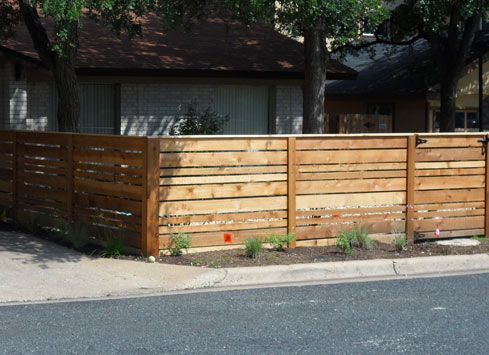 4ft Tall Horizontal Cedar Wood Fence And Gate Around Front Yard