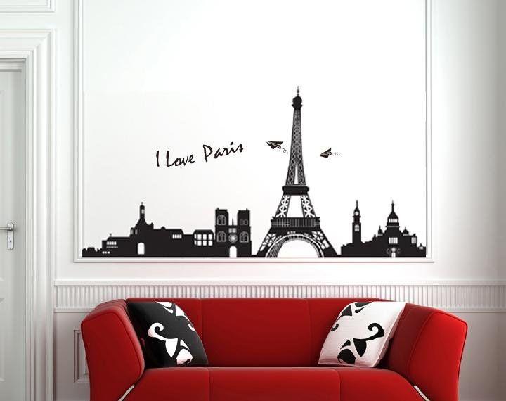 Removable Modern Wall Sticker Decal Eiffel Tower Design Wall Paper - Wall decals eiffel tower