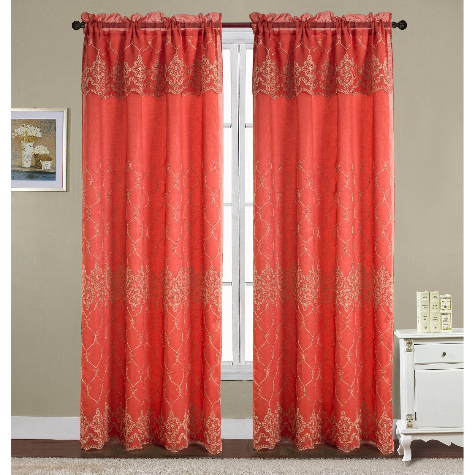 Rt Designers Collection Emmett Embroidered Double Rod Pocket Curtain Panel With Valance Terracotta Panel Curtains Rod Pocket Curtain Panels Curtains