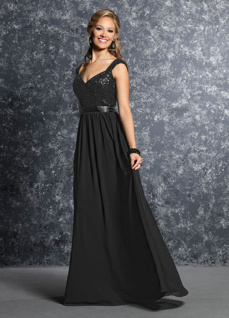 Cap sleeves alluring chiffon sequined bodice long black bridesmaid cap sleeves alluring chiffon sequined bodice long black bridesmaid dress ombrellifo Image collections