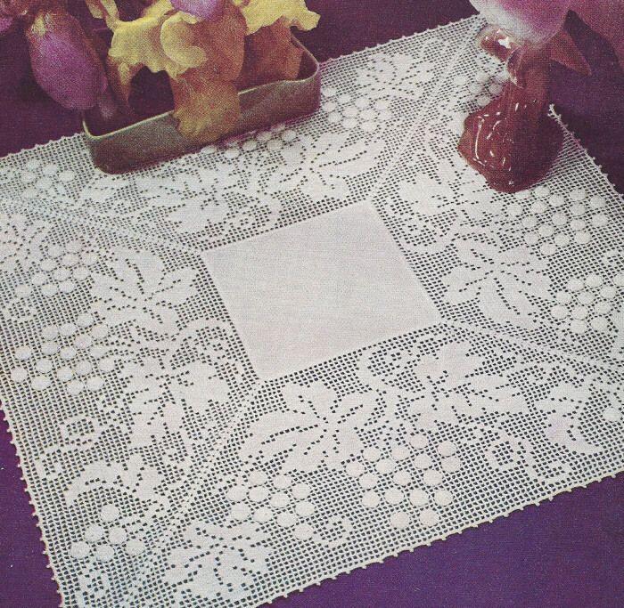 Vintage Crochet Pattern To Make Grape Leaves Filet Doily Motif ...