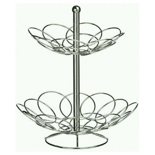 2 Tier Fruit Basket Rack Stand Holder Storage Chrome Metal Kitchen Ellipse