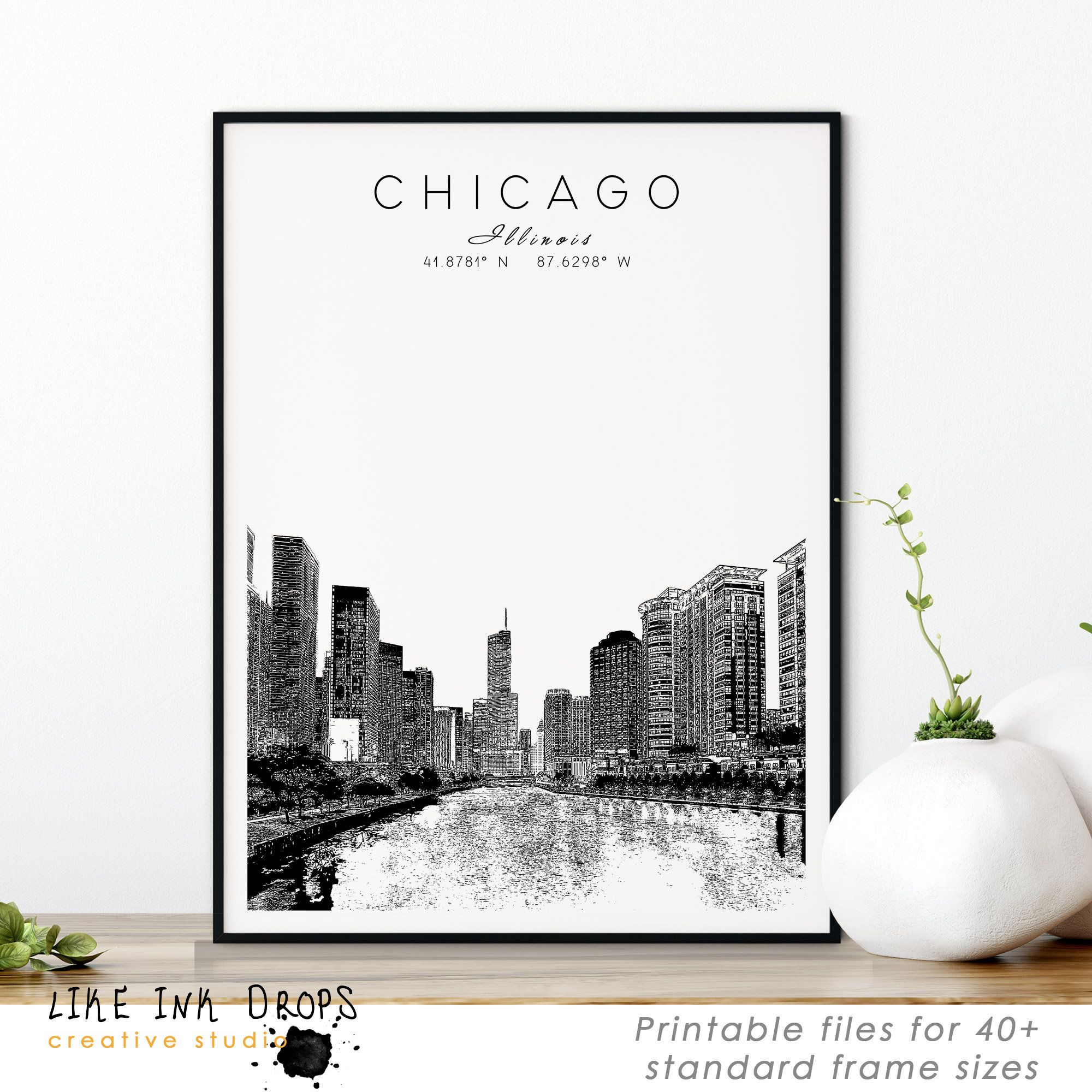 Minimalist Chicago Wall Art Decor Digital Printable Image Of Illinois Modern Download Art For Living Room Home Office Usa City Gift Chicago Wall Art Cactus Wall Art Chicago Wall