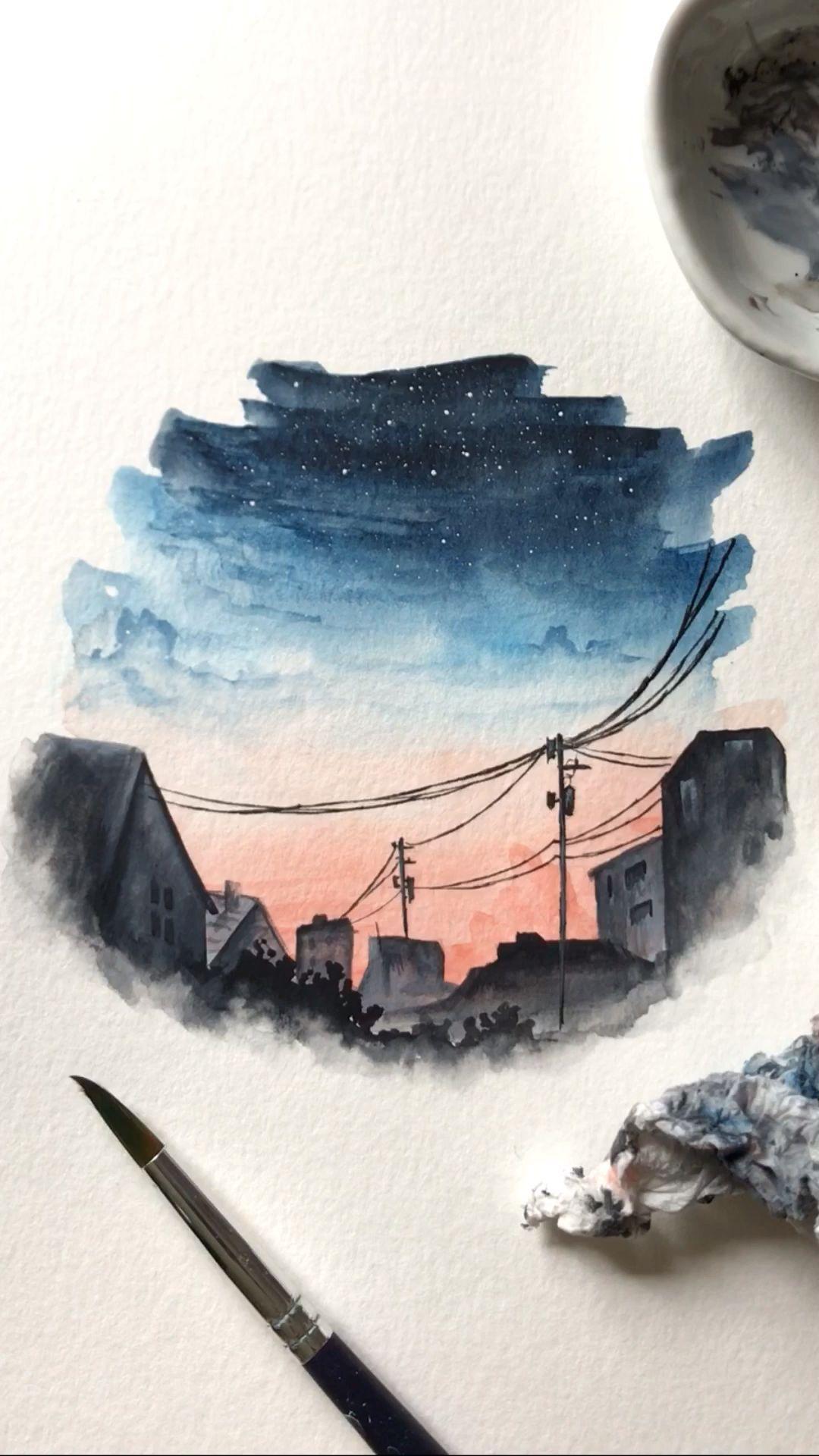 Watercolor City Night Painting Wasserfarbenkunst Watercolor