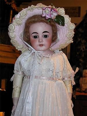Antique-22-Leib-Hofmann-German-Bisque-Head-Doll-Gorgeous-Face-Leather-Body