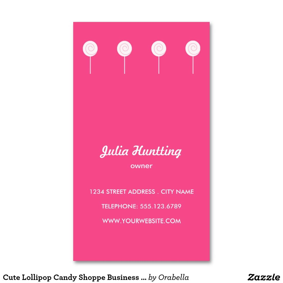 Cute Lollipop Candy Shoppe Business Cards | Art Printmaking ...