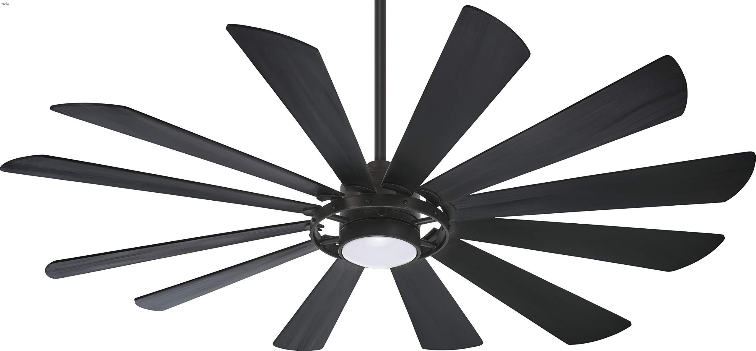 Minka Aire F870l Tcl Windmolen 65 Quot Outdoor Ceiling Fan With Led Light And Remote Control Textured Coal 65 Quot Blade Span 24 Degree Blade Pitch 123 X