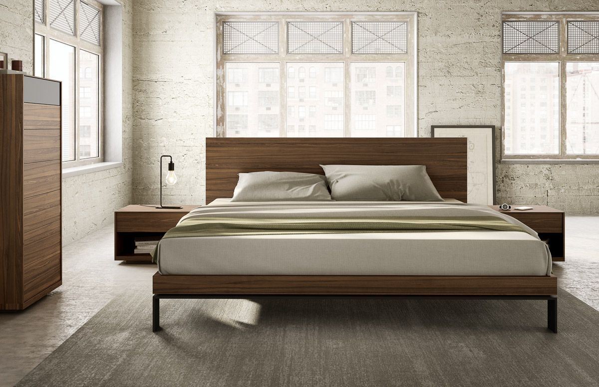 Quebec Bedroom Furniture Bora Bed With Wood Headboard Black Legs Mobican Zzzzzzz