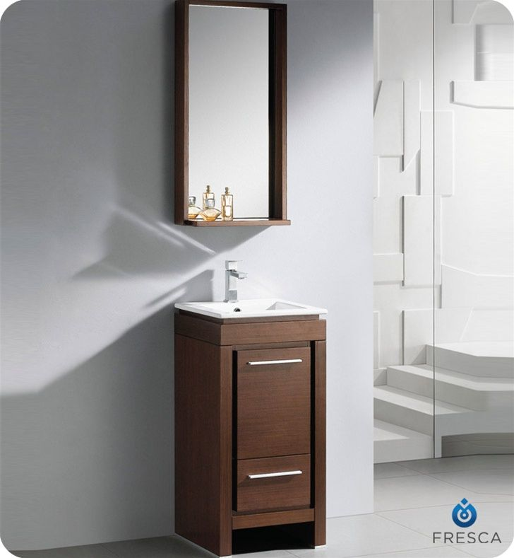 16 Inch Small Modern Bathroom Vanity Wenge Finish Small Bathroom