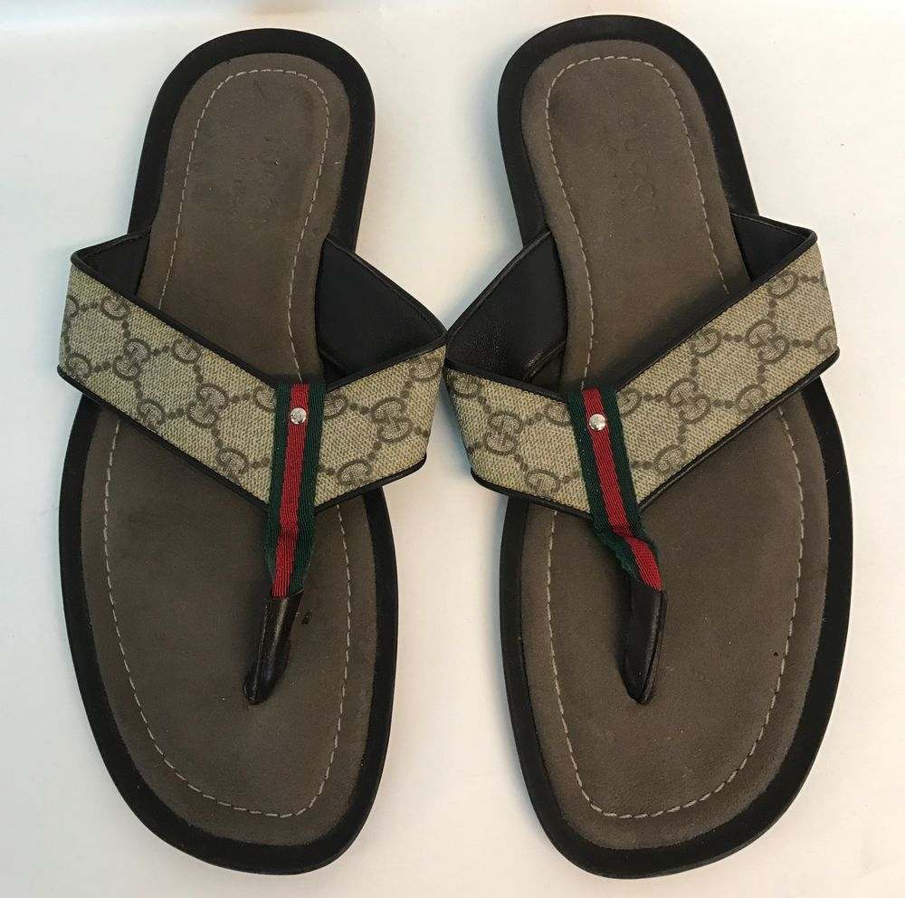 50077f24a Gucci Leather Men Signature Web Flip Flops Thong Shoes Sandals 10 Brown  Italy  Gucci  FlipFlops