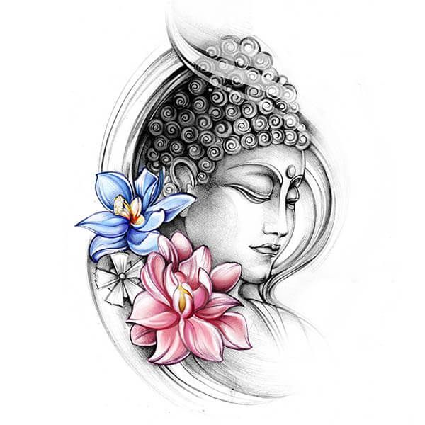 Budha With Colourful Lotus Flowers Tattoo Tats Tattoo Drawings
