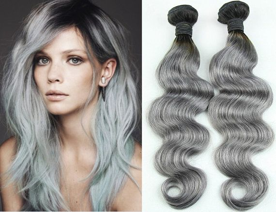 Grey hair weave hairstyle ideas 3pcs lot body wave 1b grey ombre hair weave malaysian silver pmusecretfo Images