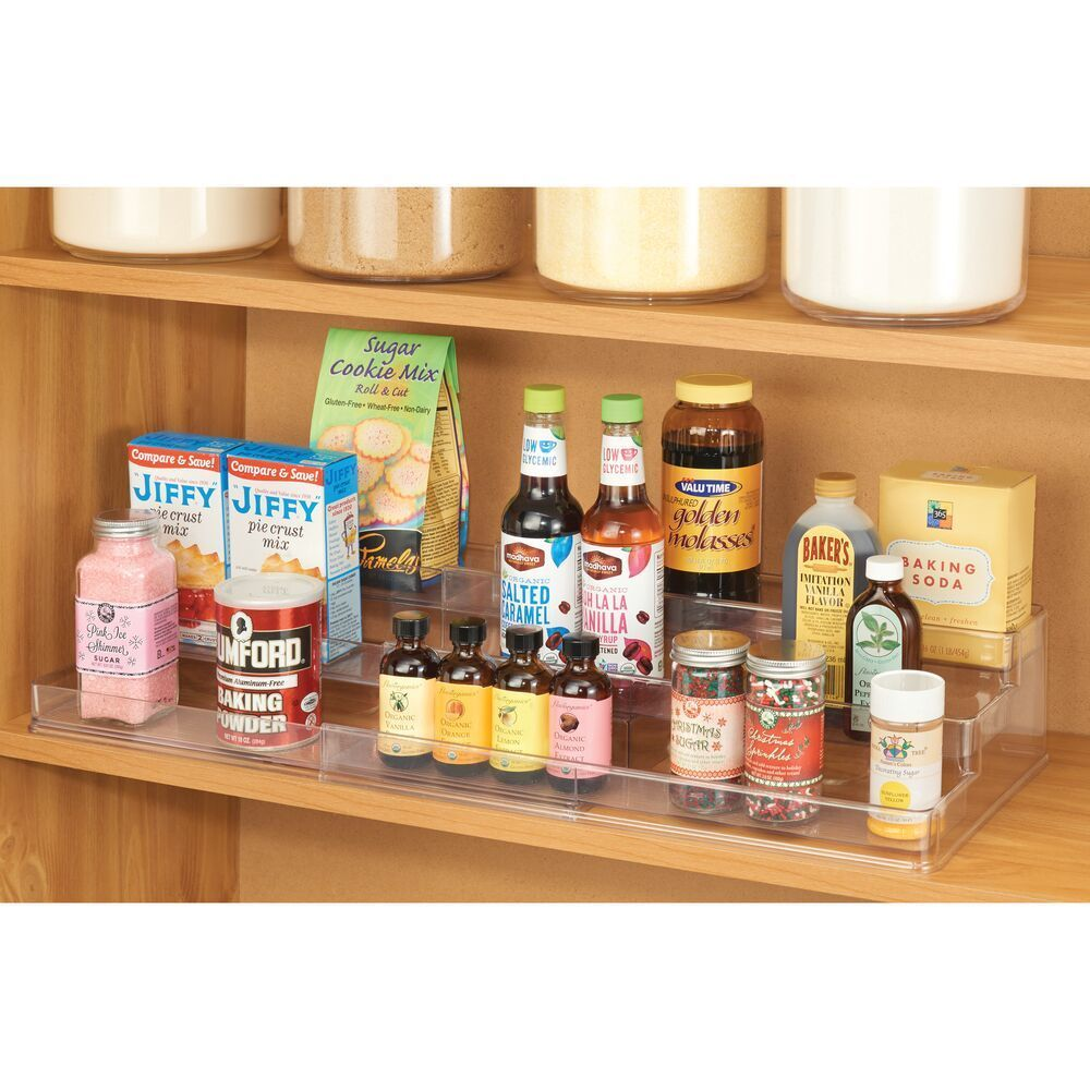 mDesign Large Plastic Adjustable, Expandable Kitchen Cabinet, Pantry, Shelf Organizer/Spice Rack with 3 Tiered Levels of Storage for Spice Bottles, Jars, Seasonings, Baking Supplies EXPANDABLE: Customize to fit your cabinet, cupboard, and shelf spaces by
