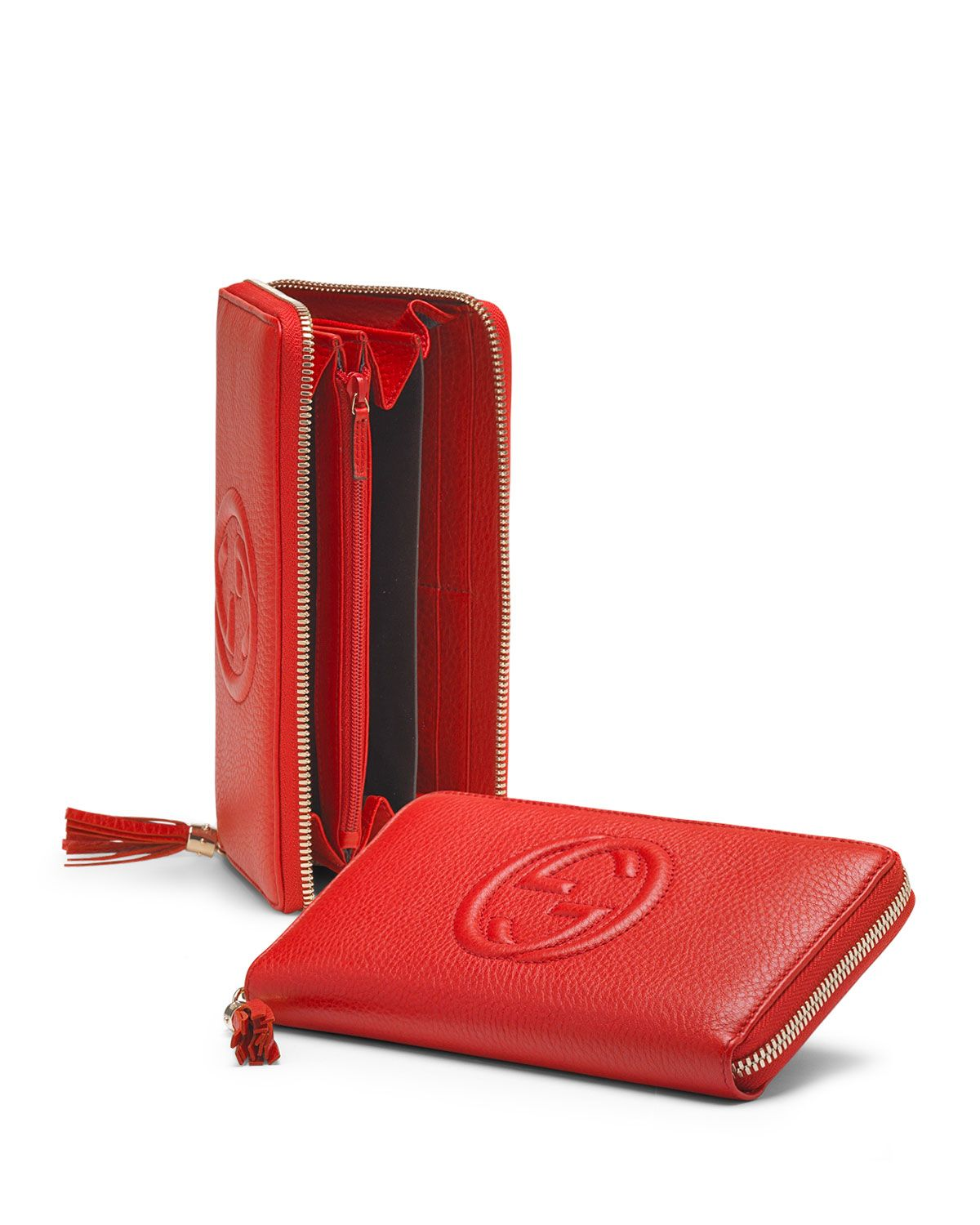 6e77f0c213b9 Soho Leather Zip-Around Wallet, Red - Gucci | *Handbags, Wallets ...