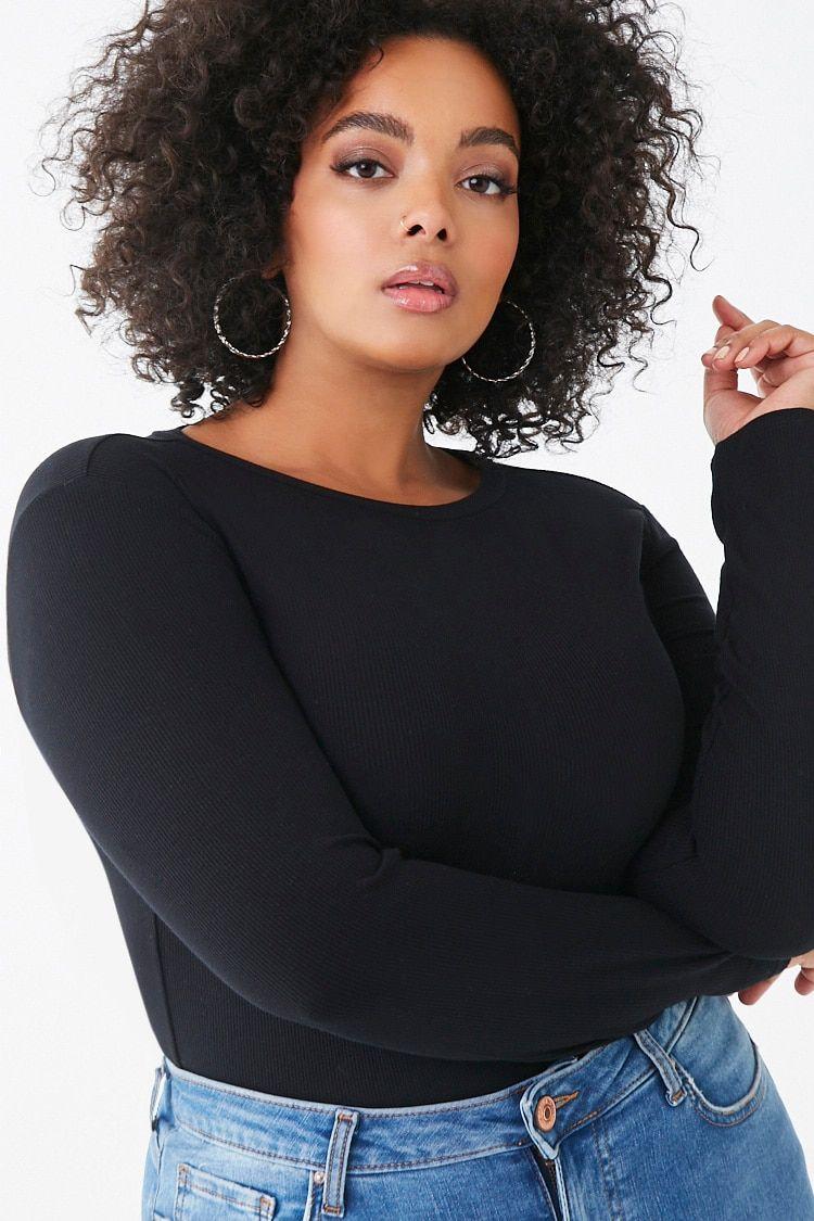 Photo of Plus Size Ribbed Bodysuit , 3X
