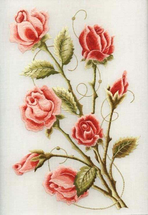 Розы вышивка гладью в картинках