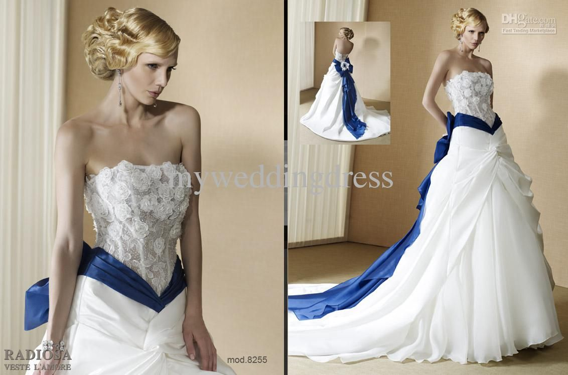 Wedding dresses with colored trim wtb soulmate pst for Wedding dress in blue