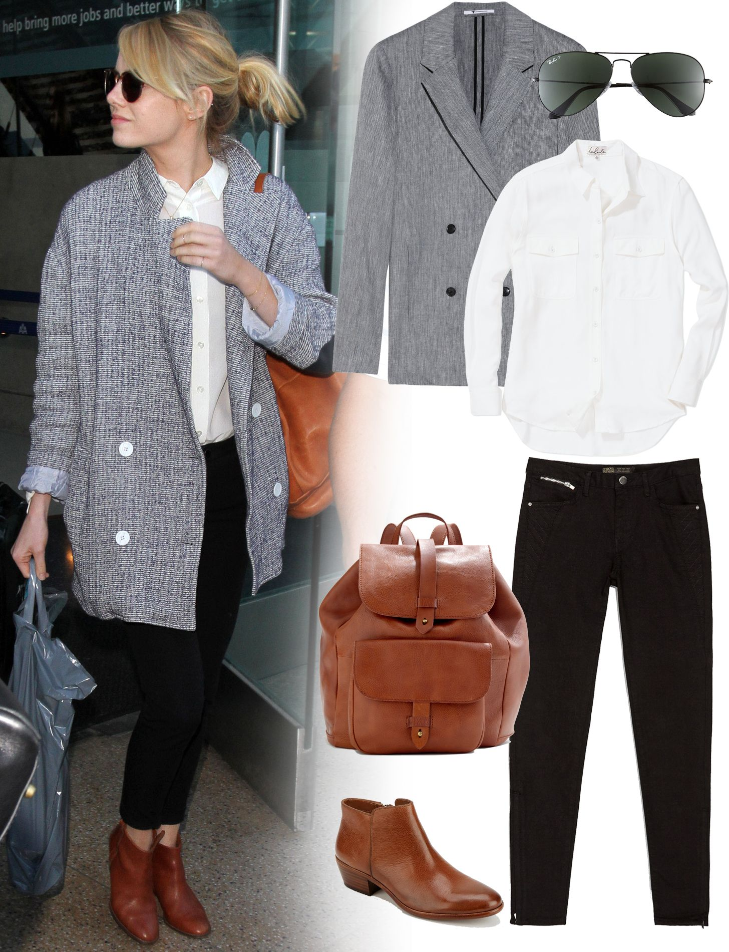 46724a9171c6 Emma Stone s carrying a  Madewell backpack we re obsessed with (buy it  here