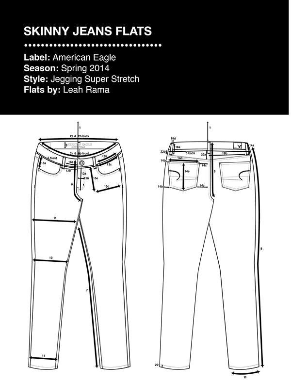 c95306102b6 AE Skinny Jeans Technical Flats with Specs   Floats on Behance ...