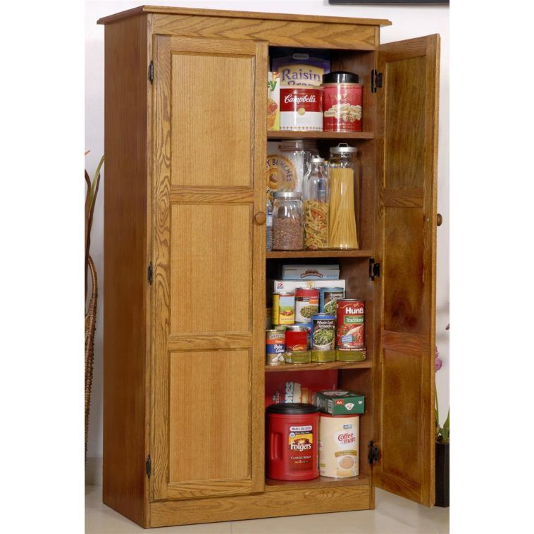 Tall Freestanding Wood Kitchen Pantry Storage Cabinet With Doors And 4 Ample Shelves