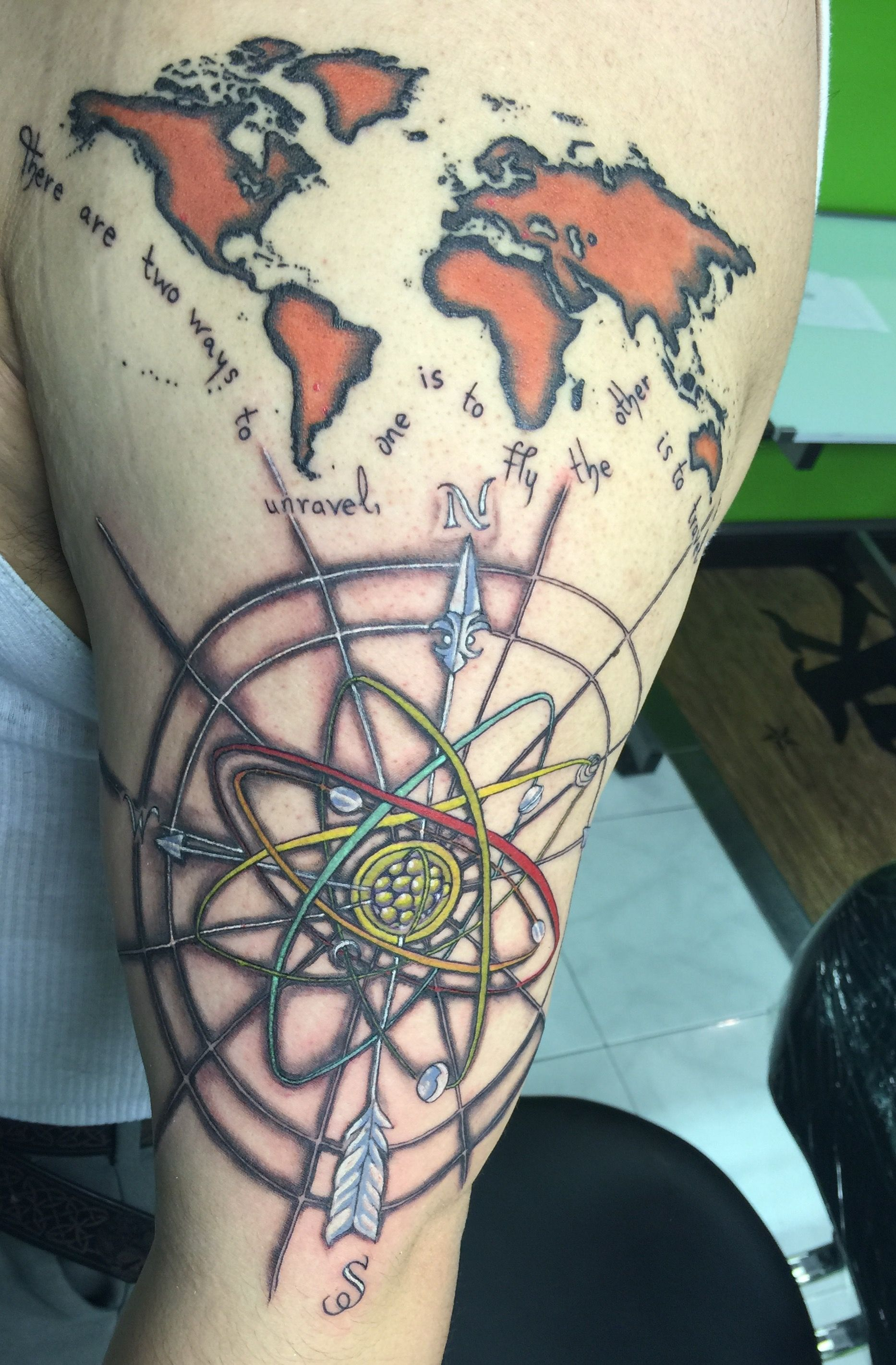 Compass tattoo atom tattoo world map tattoo body art pinterest compass tattoo atom tattoo world map tattoo gumiabroncs Image collections