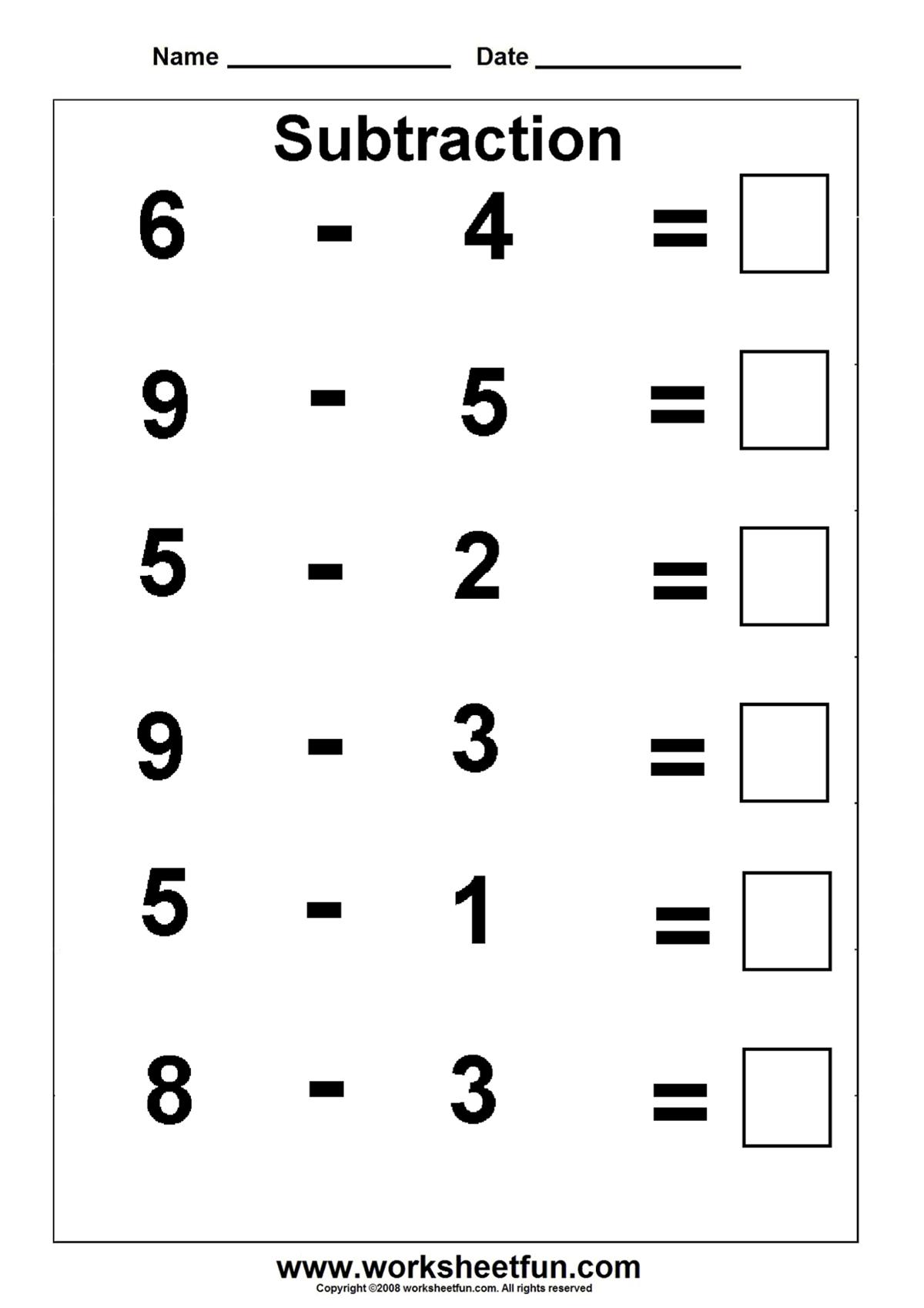 subtraction worksheet homeschooling subtraction kindergarten math worksheets subtraction. Black Bedroom Furniture Sets. Home Design Ideas