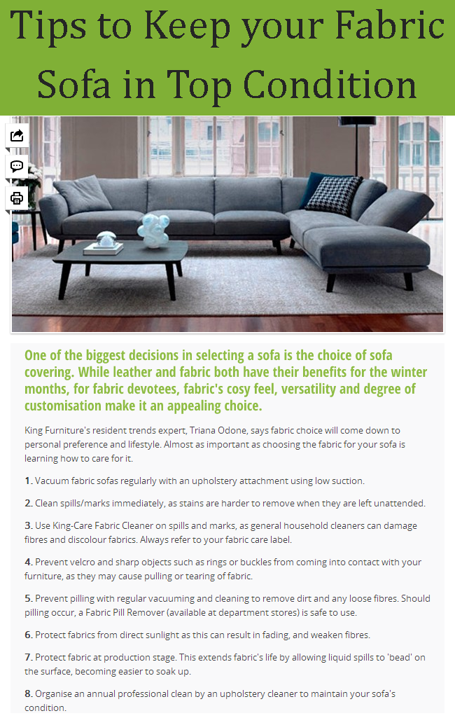 Tips To Keep Your Fabric Sofa In Top Condition Fabric Sofa Cleaning Household Kitchen Cleaning Hacks