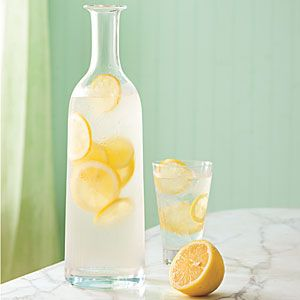 lemon water...for digestion, relieves heartburn, bloating..mix lemon with distilled water