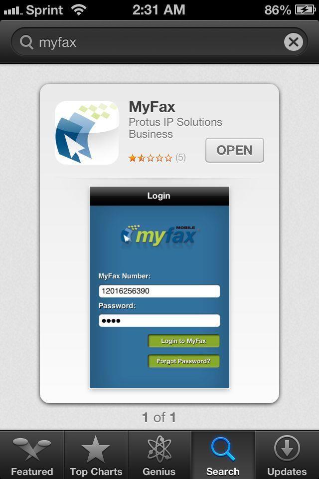 E-fax service www.myfax.com