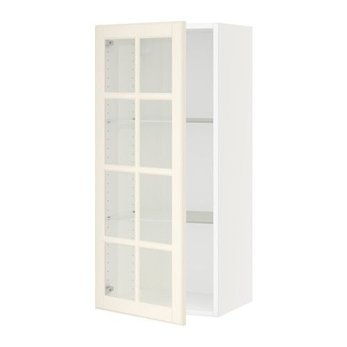 Sektion Wall Cabinet With Glass Door White Bodbyn Off White In