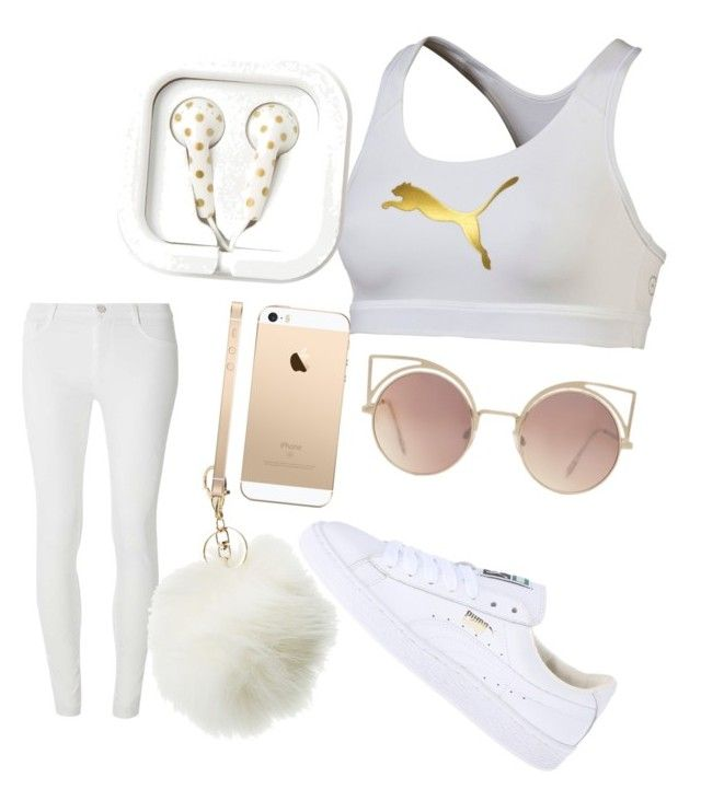 """""""white and gold puma biker"""" by omatola-gordon-rose on Polyvore featuring Puma, Dorothy Perkins, Charlotte Russe and MANGO"""