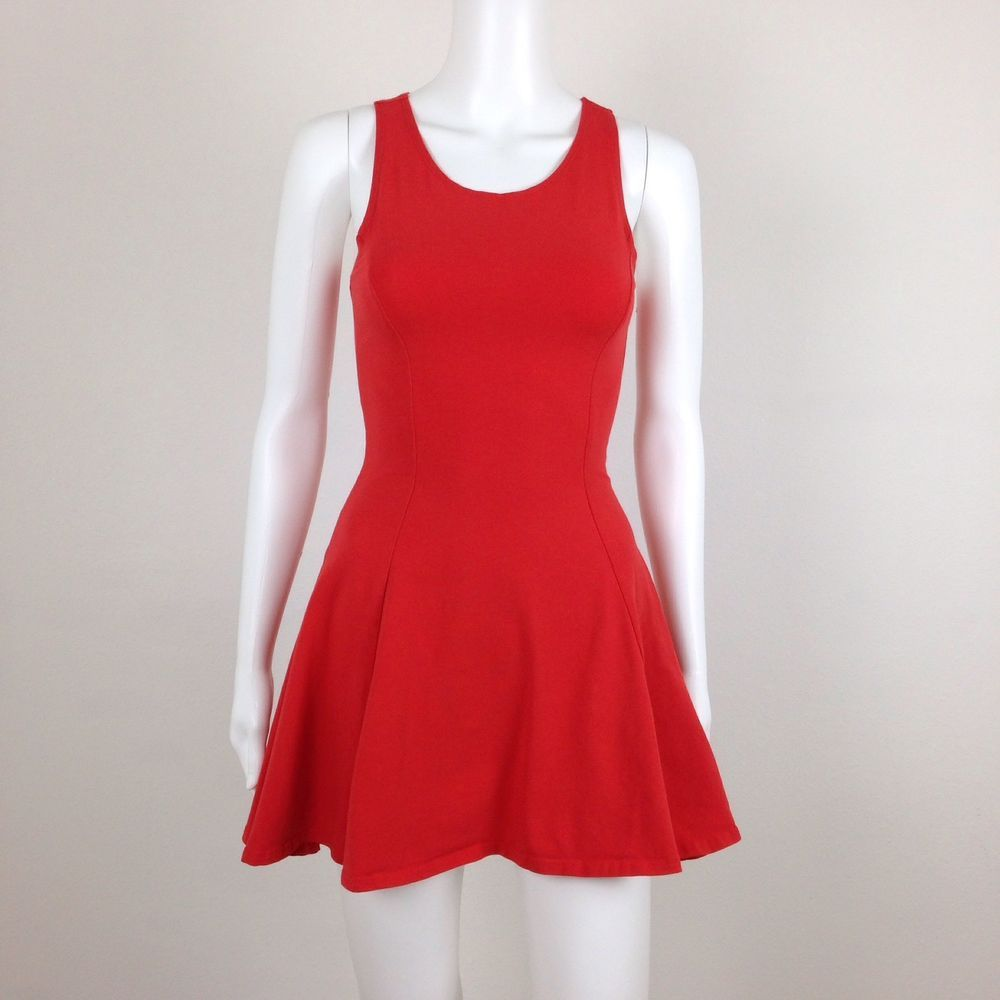 Topshop red sleeveless stretch skater mini dress womens size us