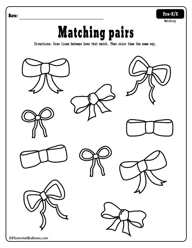 Ffree printable matching worksheets for PRESCHOOL! Theme