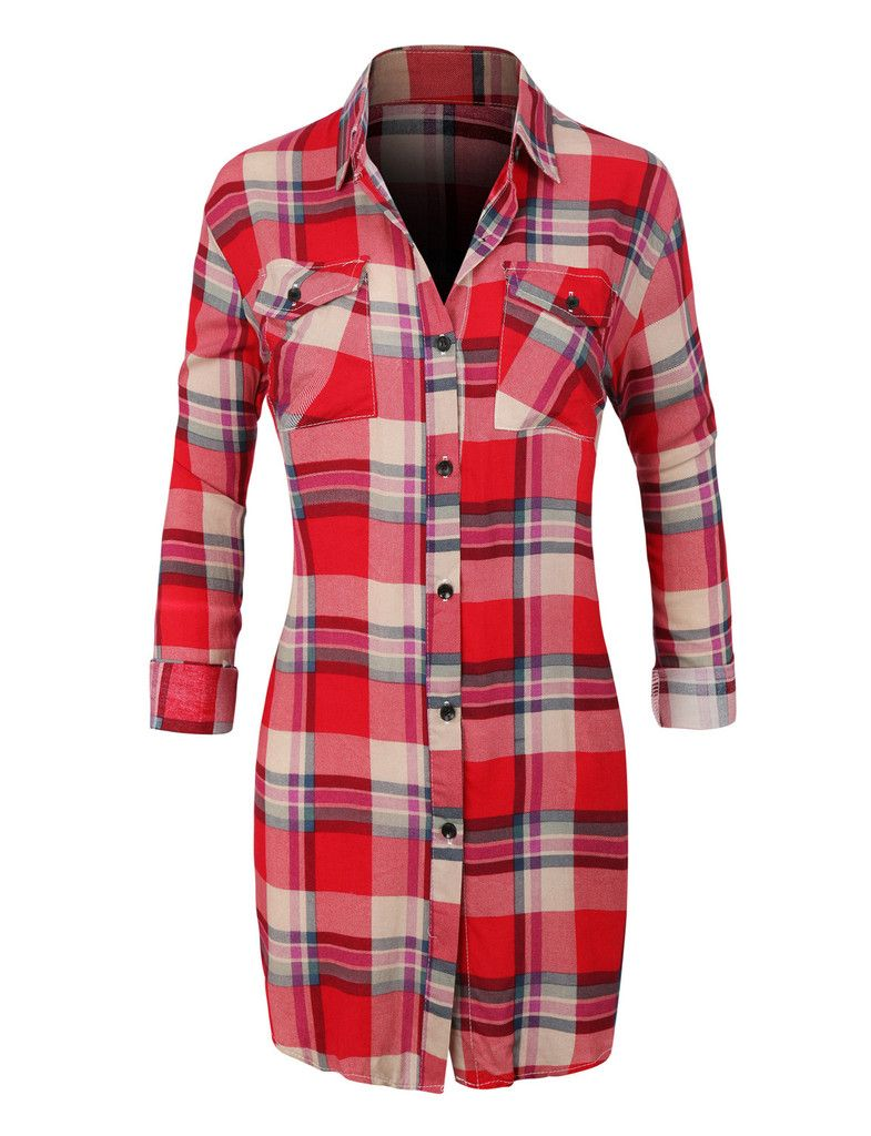 Womens Casual Plaid Button Down Shirt with Roll Up Sleeves ...
