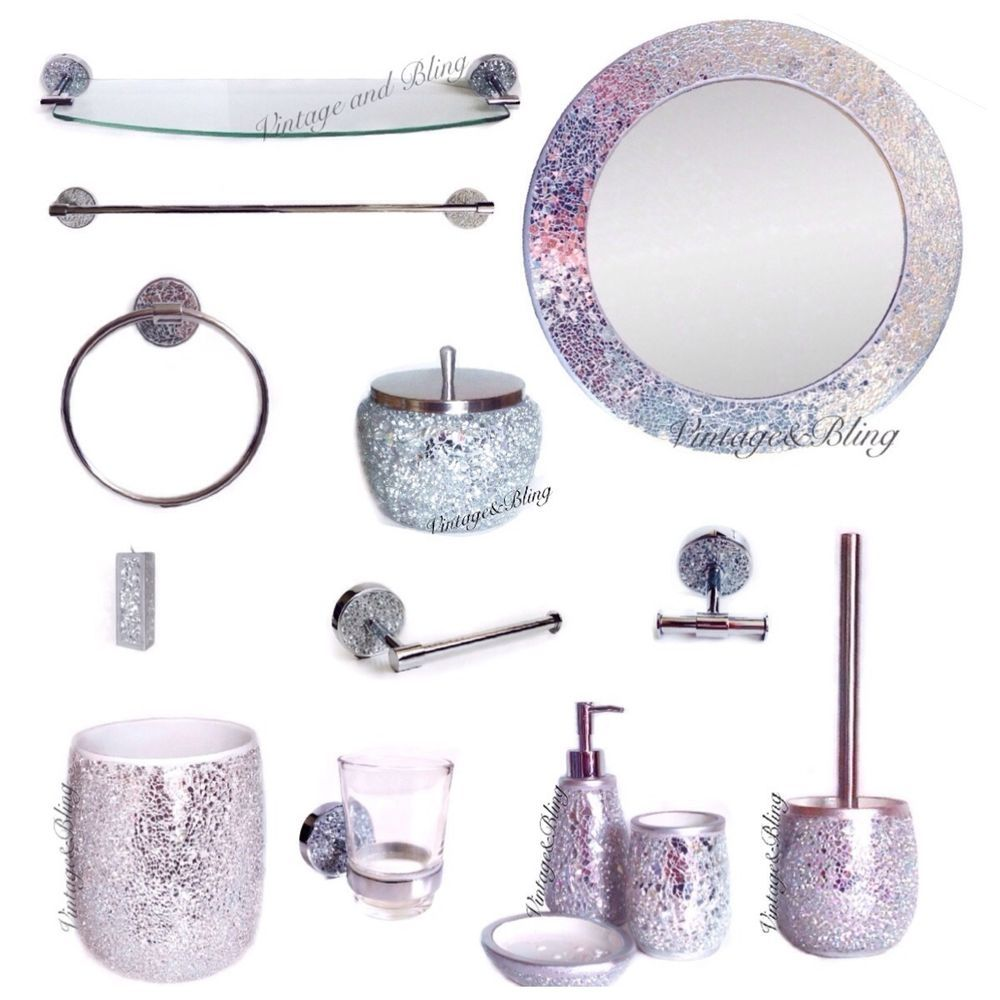 Pink Sparkle Bathroom Accessories Glass Bathroom Glitter