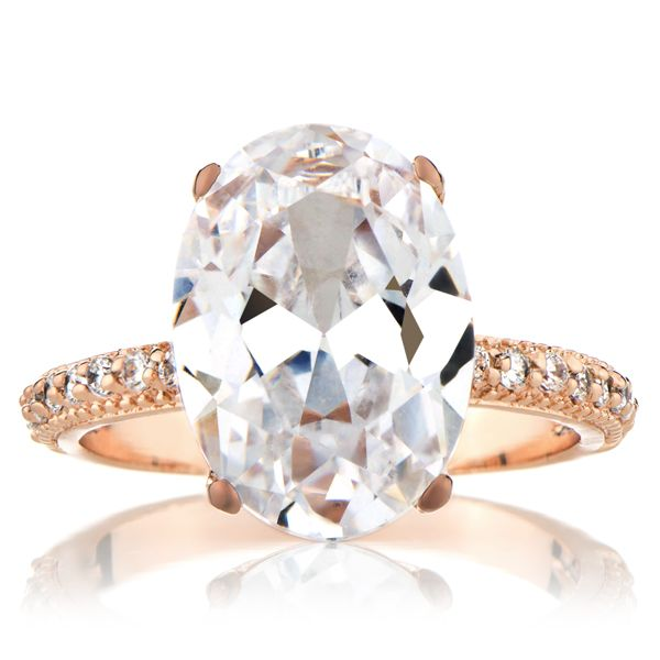 Blake Lively's Inspired Rose Gold Vintage Style Wedding Ring - Oval Cut CZ 5 Carats $55.00