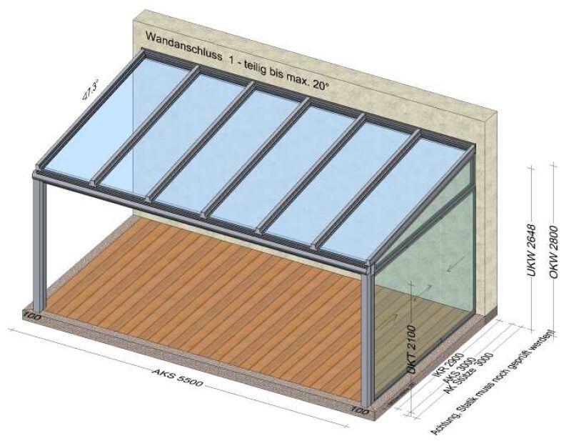 Terrassenuberdachung 1 Seite Geschlossen Mit Glasschiebeturen Uberdachungen Glasschiebetur Terrassenuberdachung