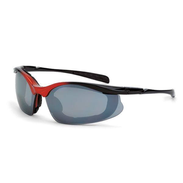 CrossFire Concept Safety Glasses - Orange Foam Lined Frame - Silver Mirror Lens   FullSource.com