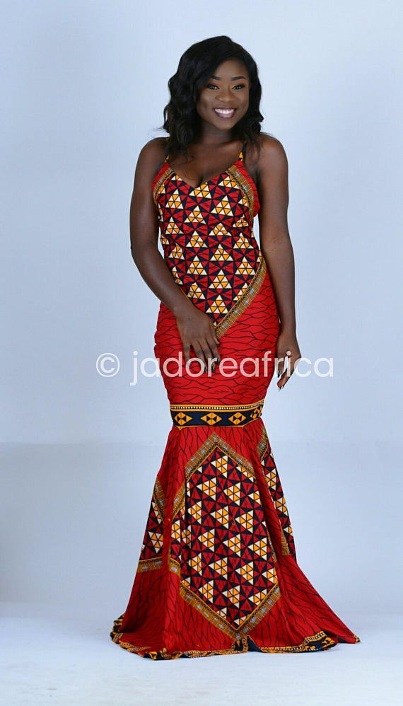 Red African print maxi dress / African prom dress / African wedding ...
