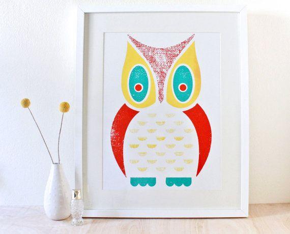 Owl Screenprint Large Art Print Poster by sassandperil on Etsy, $30.00 #owl #screenprint
